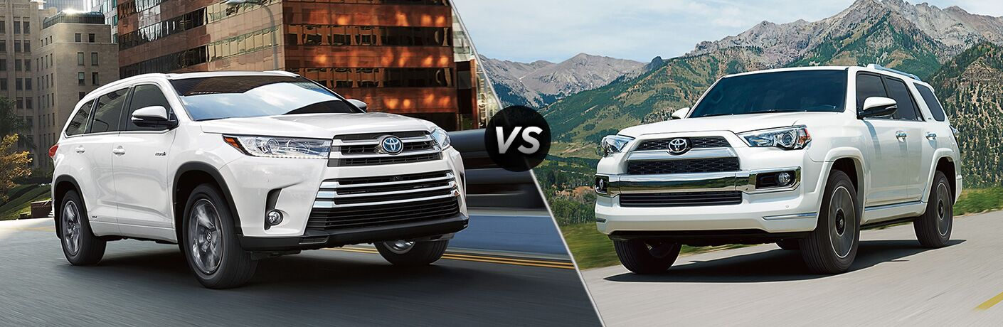 Split screen images of the 2018 Toyota Highlander and 2018 Toyota 4Runner