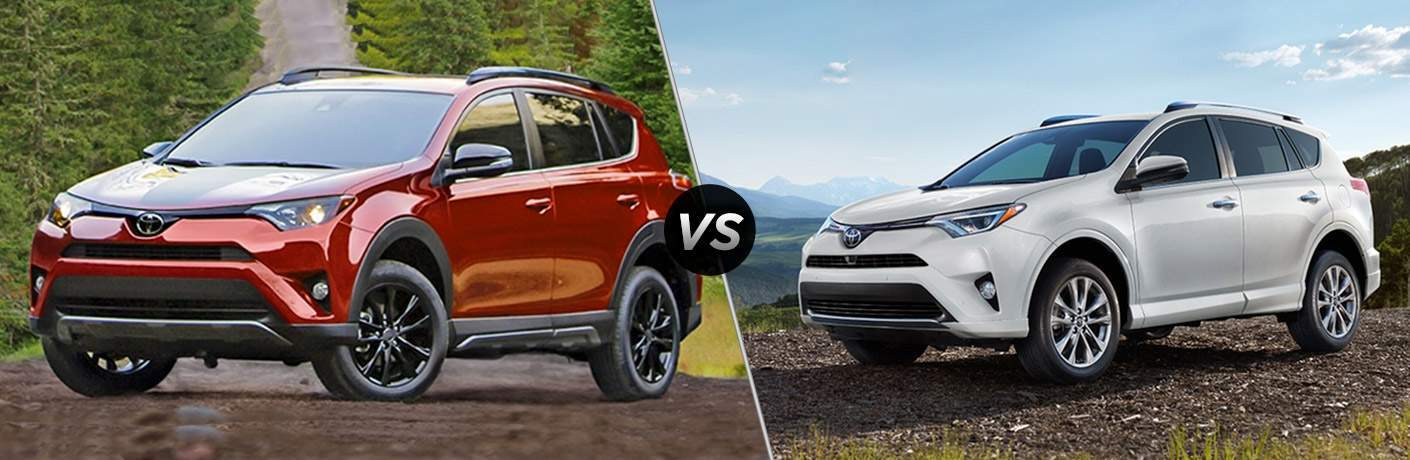 Split screen images of the 2018 Toyota RAV4 and the 2017 Toyota RAV4