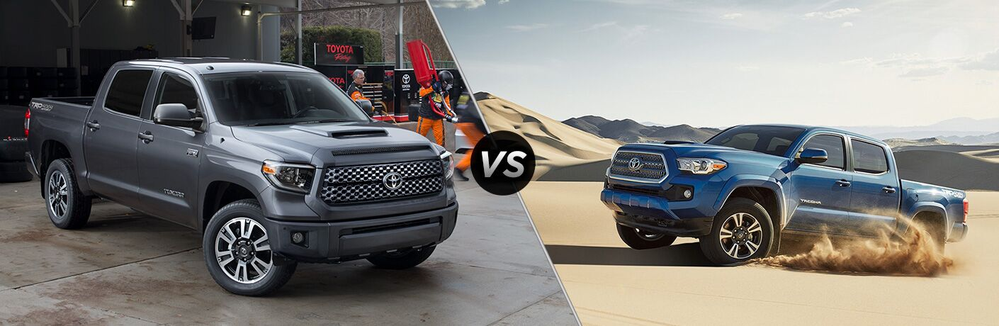 Split screen images of the 2018 Toyota Tundra and the 2018 Toyota Tacoma