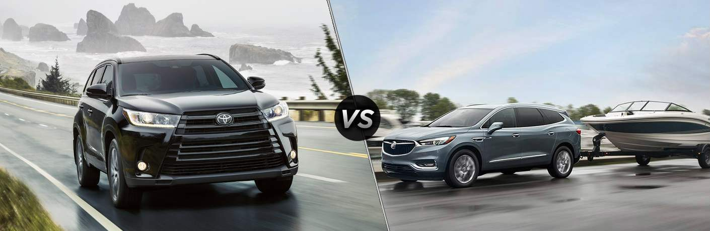 Split screen images of the 2018 Toyota Highlander and the 2018 Buick Enclave