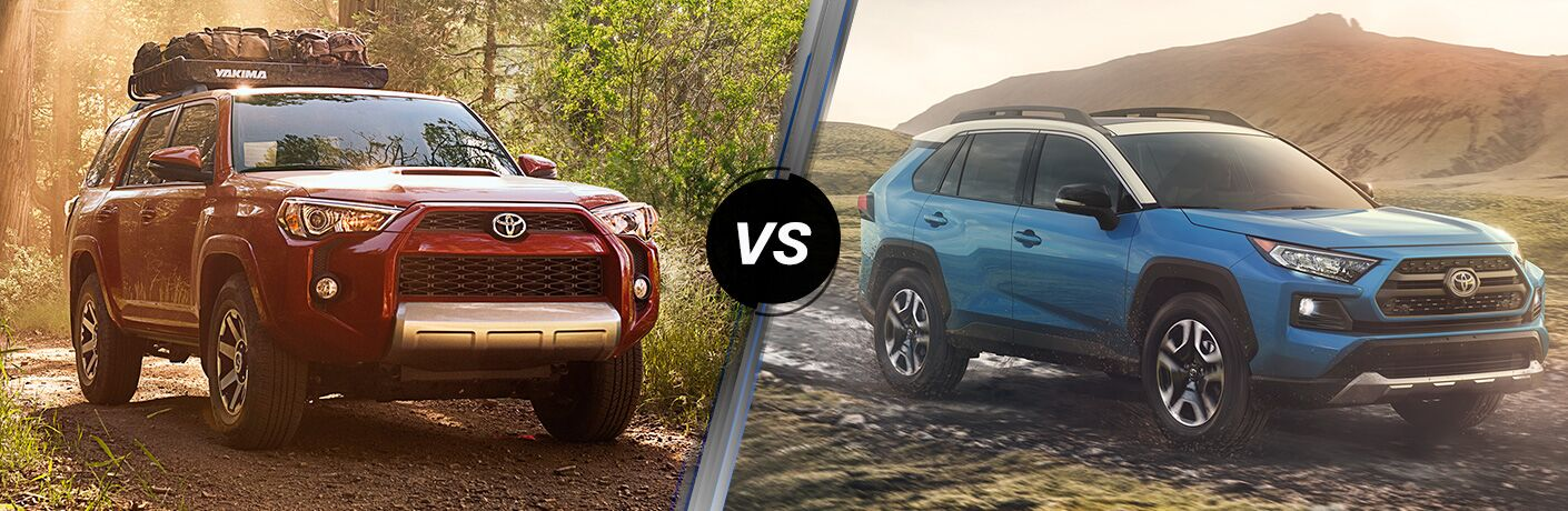 Split screen images of the 2019 Toyota 4Runner and 2019 Toyota RAV4
