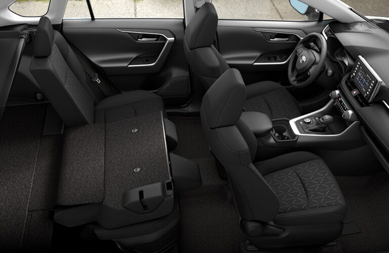 Interior of 2019 Toyota RAV4 Hybrid with seats folded down