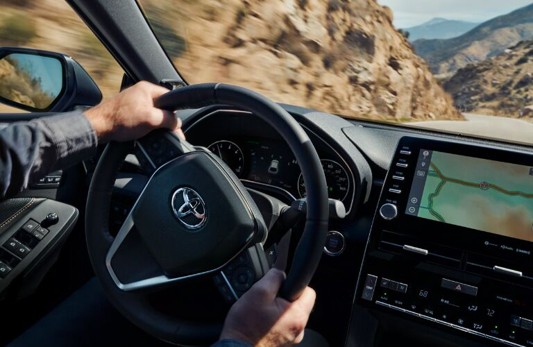 2019 Toyota Avalon Hybrid steering wheel and touchscreen display