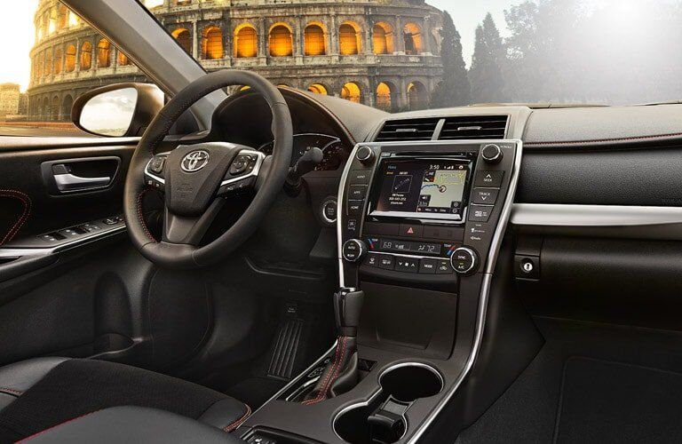 The 2017 Toyota Camry's dashboard from the view of the passenger seat
