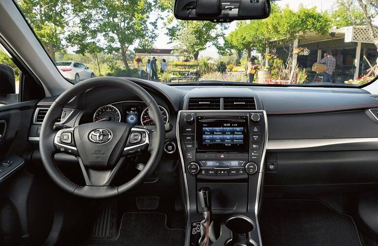 Interior of the 2017 Toyota Camry XSE looking towards the dashboard