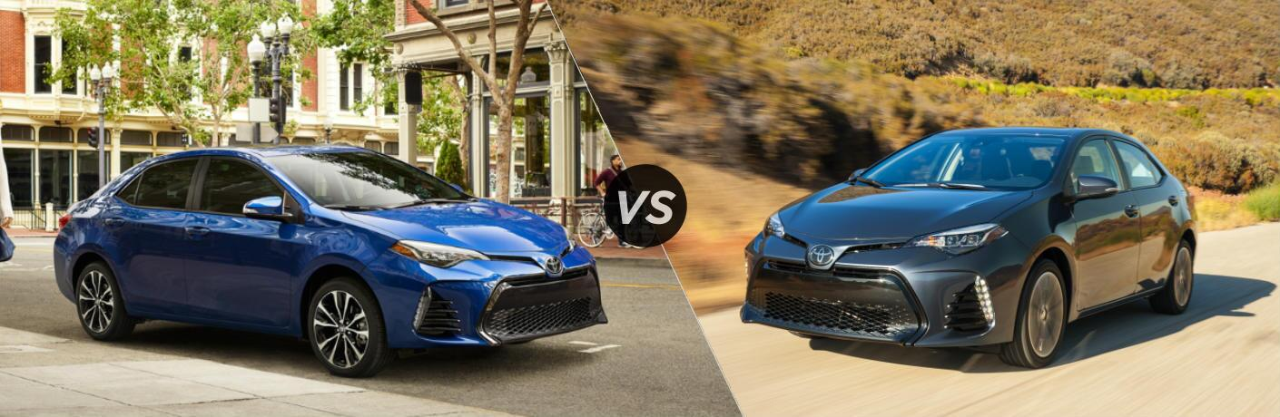 Split screen images of the 2019 Toyota Corolla and the 2018 Toyota Corolla