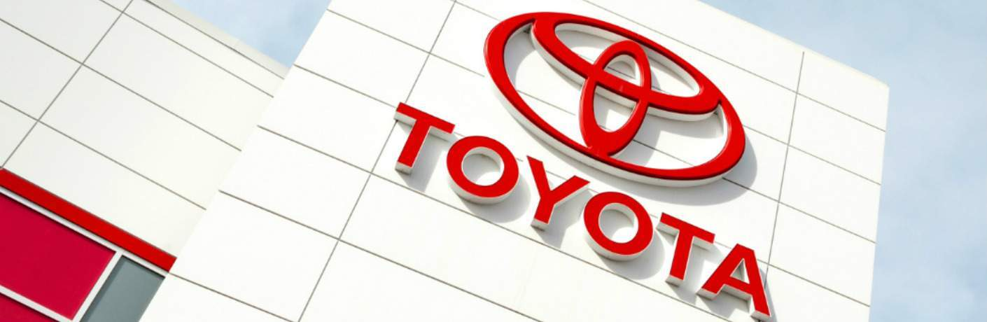 Toyota logo on the side of a dealership