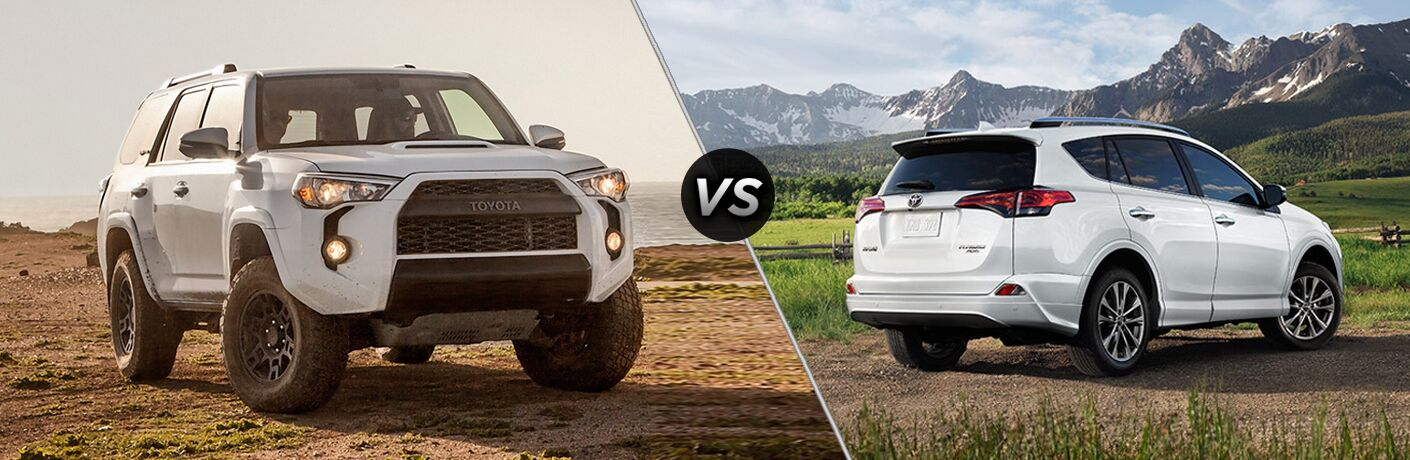 Split screen images of the 2018 Toyota 4Runner and the 2018 Toyota RAV4