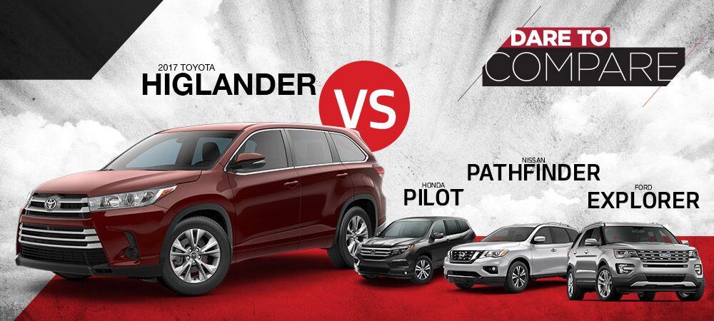 2017 Toyota Highlander vs. Honda Pilot, Nissan Pathfinder, Ford Explorer