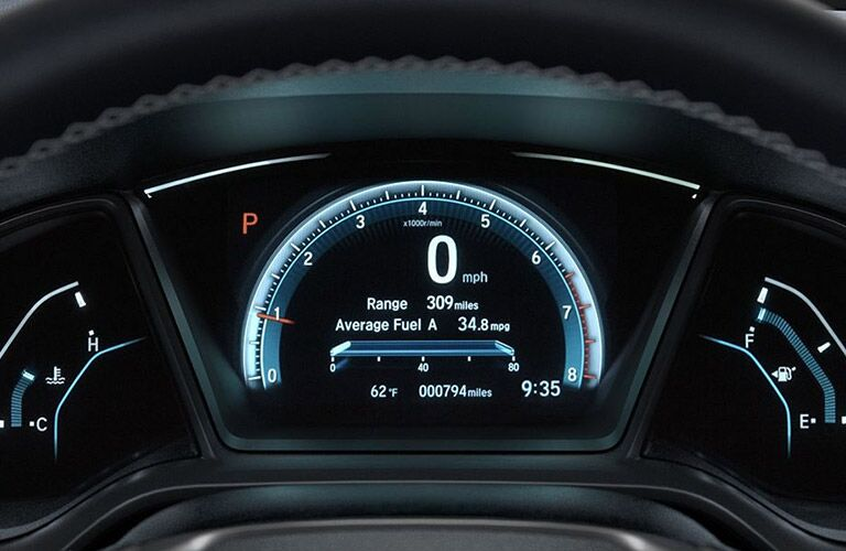 close up of instrument cluster of 2018 honda civic sedan