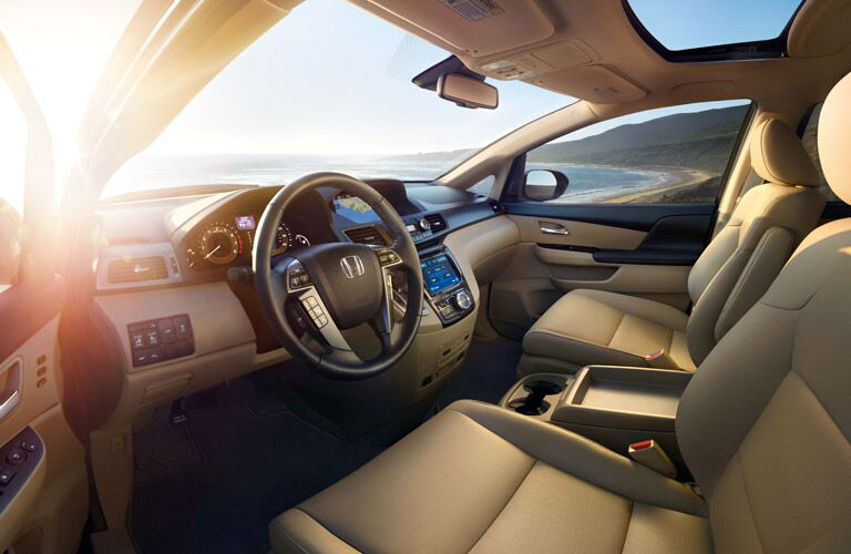 View of Steering Wheel and Front Seats in 2016 Honda Odyssey