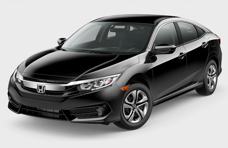 front and side view of black 2018 honda civic sedan against white background