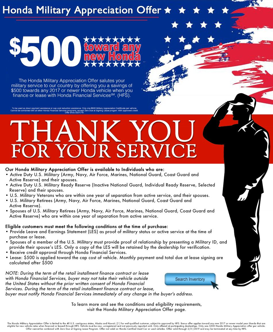 Ellisville Missouri Honda Dealership West County Engine Coolant Change The Military Appreciation Offer Salutes Your Service To Our Country By Offering You A Savings Of 500 Towards Any 2017 Or Newer Vehicle