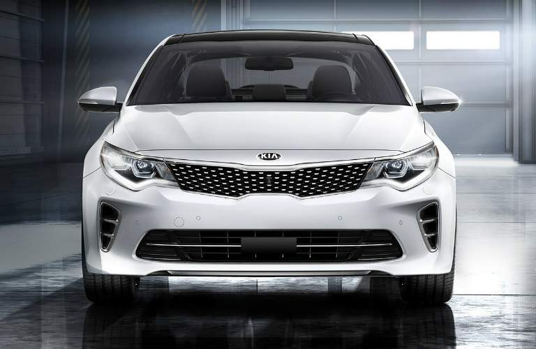 Front view of a white 2018 Kia Optima