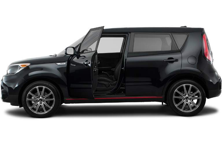 Black 2018 Kia Soul with the driver door open