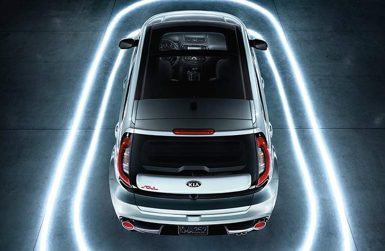 overhead view of a silver 2018 Kia Soul