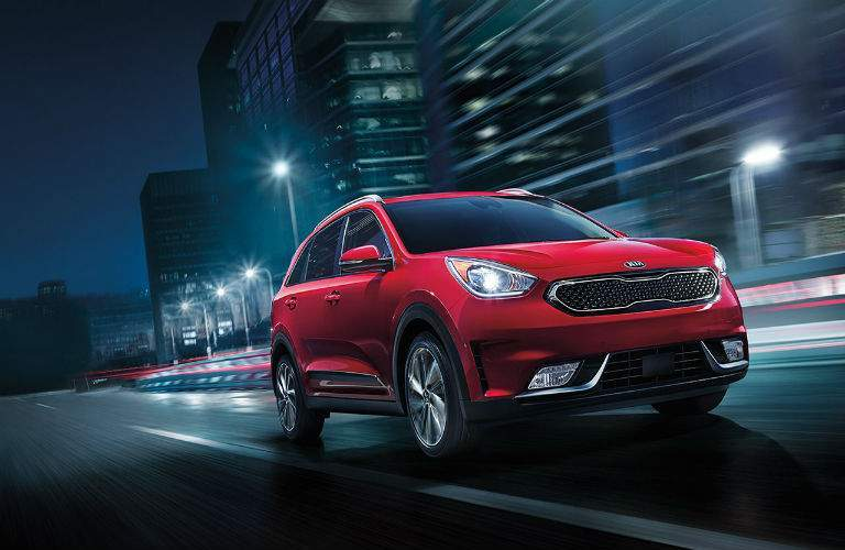 2017 Kia Niro exterior side view driving at night