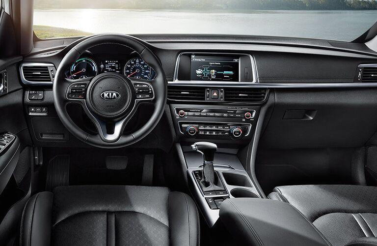 interior of kia optima hybrid, steering wheel