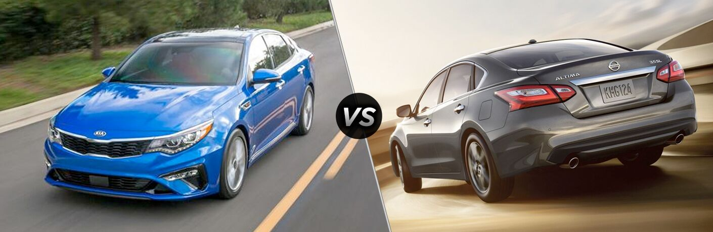 blue kia optima versus gray nissan altima