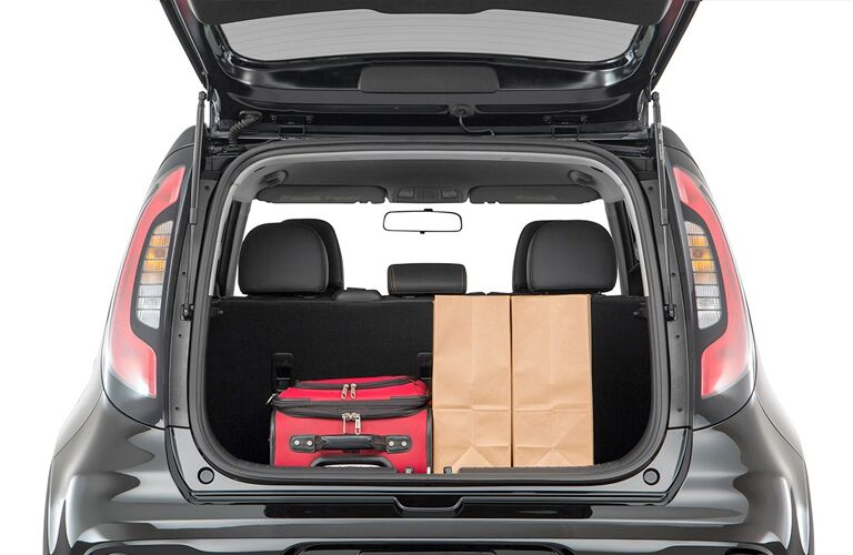 2019 Kia Soul cargo space filled with luggage and boxes