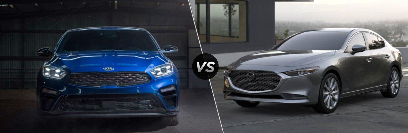 A blue 2020 Kia Forte compared to a gray 2020 Mazda3 Sedan.