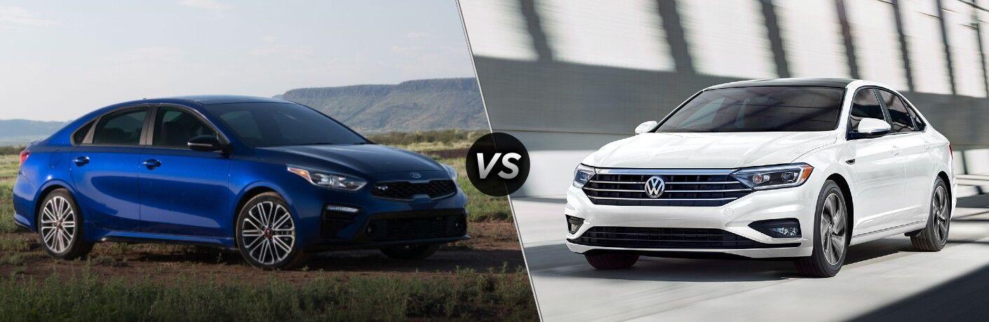A blue 2020 Kia Forte compared to a white 2020 Volkswagen Jetta.