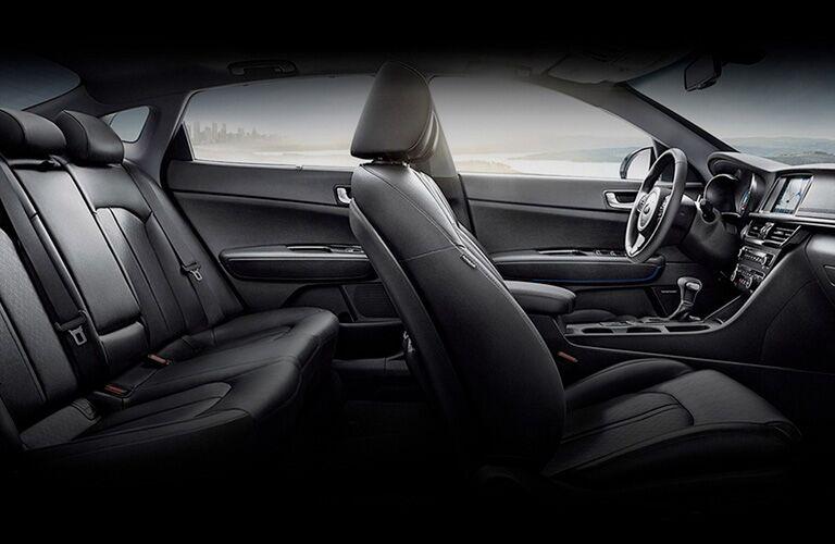 side view of black seats inside kia optima