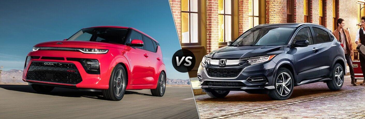 A red 2020 Kia Soul compared to a dark blue 2020 Honda HR-V.