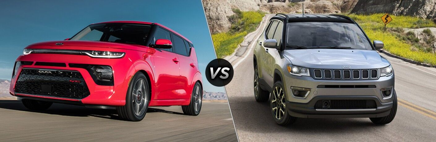 A red 2020 Kia Soul compared to a gray 2020 Jeep Compass.