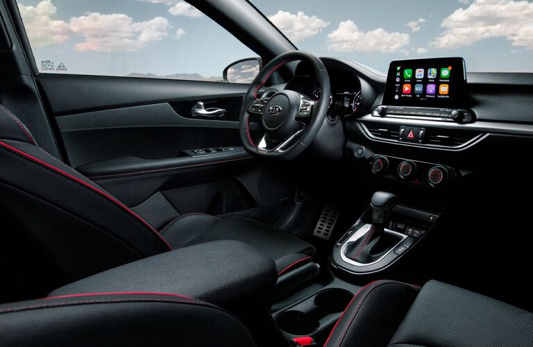 The front interior inside a 2021 Kia Forte.