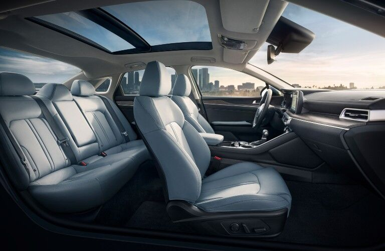 The interior seating arrangement inside a 2021 Kia K5.