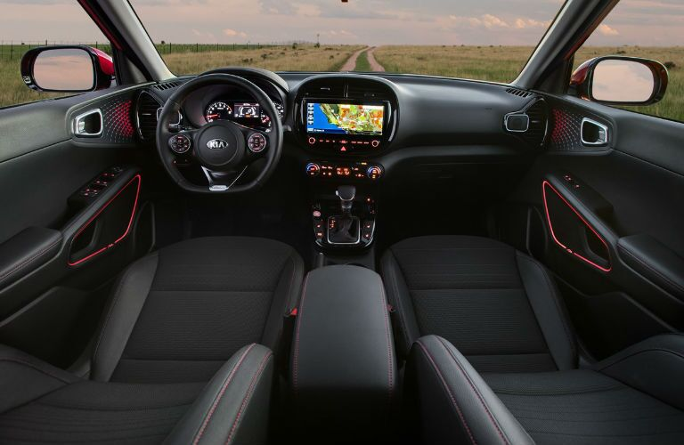 The front interior inside a 2021 Kia Soul.