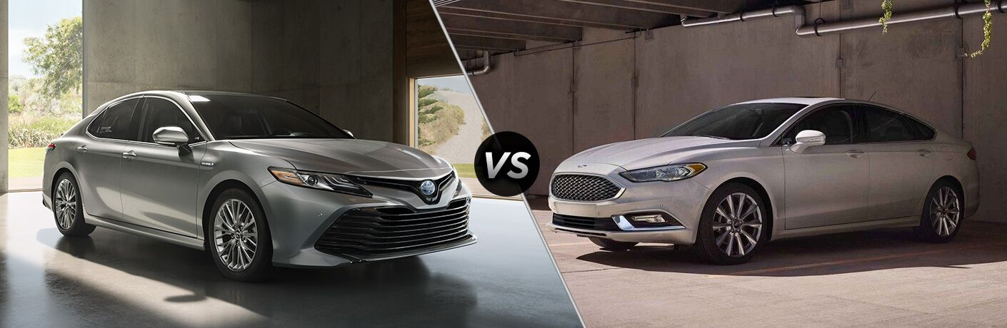 Comparison image of a silver 2018 Toyota Camry and a silver 2018 Ford Fusion