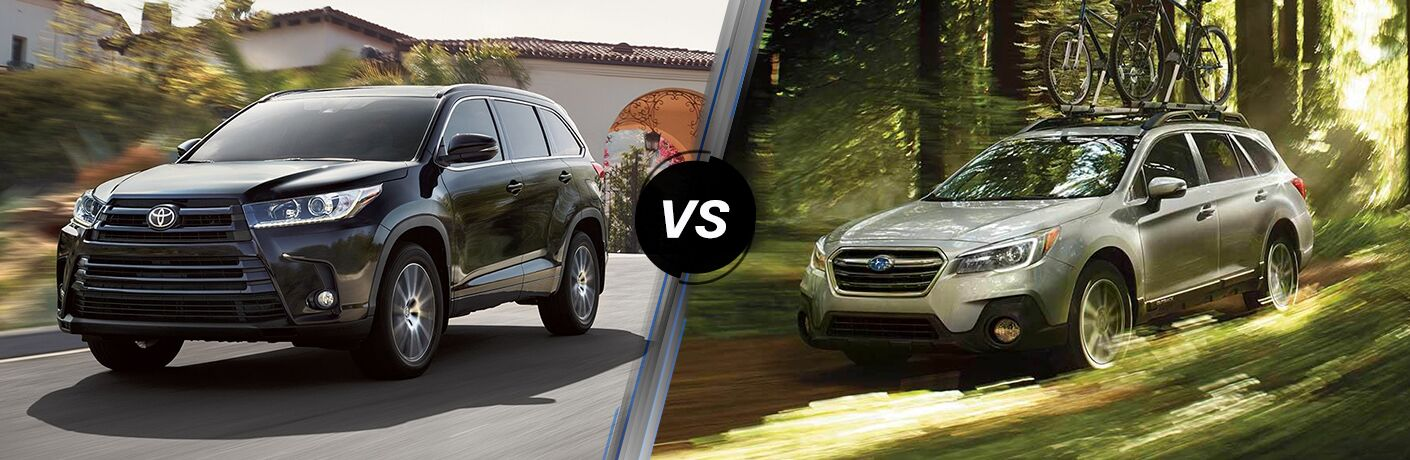 Black 2019 Toyota Highlander, VS Icon, and Silver 2019 Subaru Outback