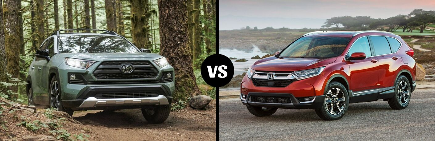Comparison image of a green 2019 Toyota RAV4 and a 2019 Honda CR-V