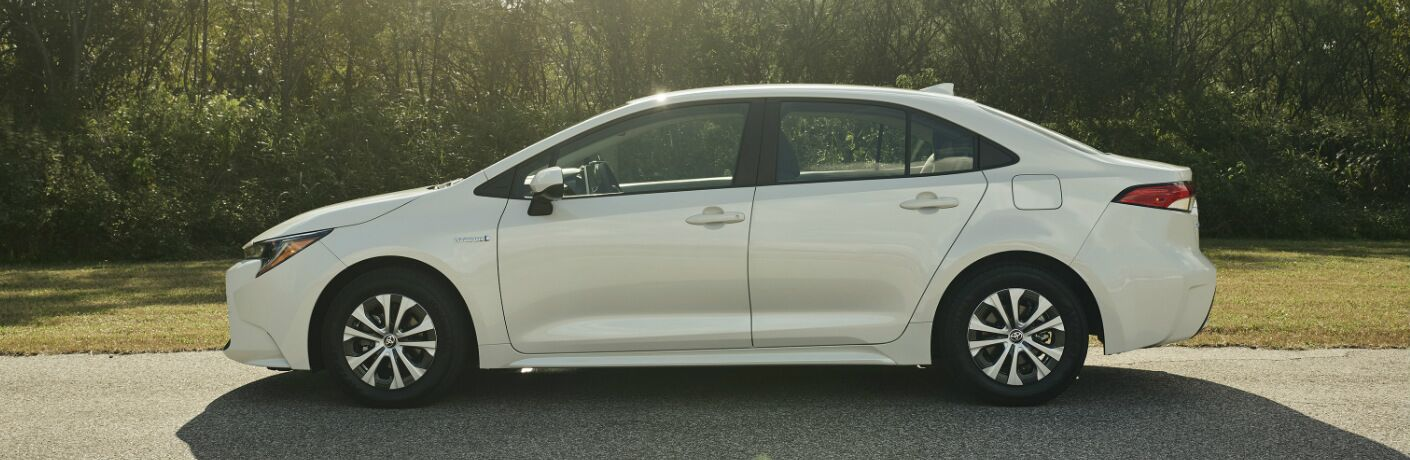 Side view of white 2020 Toyota Corolla Hybrid