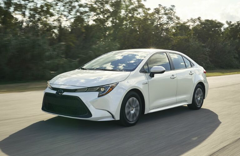 Front view of white 2020 Toyota Corolla Hybrid
