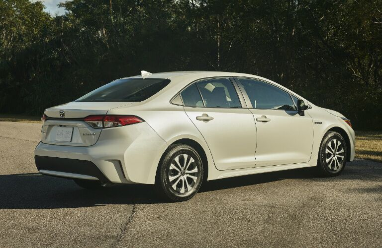 Rear view of white 2020 Toyota Corolla Hybrid