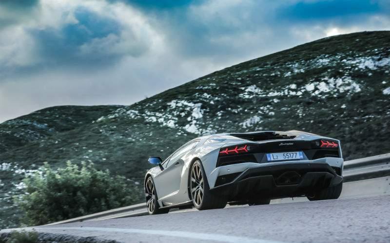 Silver 2017 Lamborghini Aventador S Rear