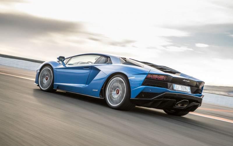 Blue 2017 Lamborghini Aventador S Rear