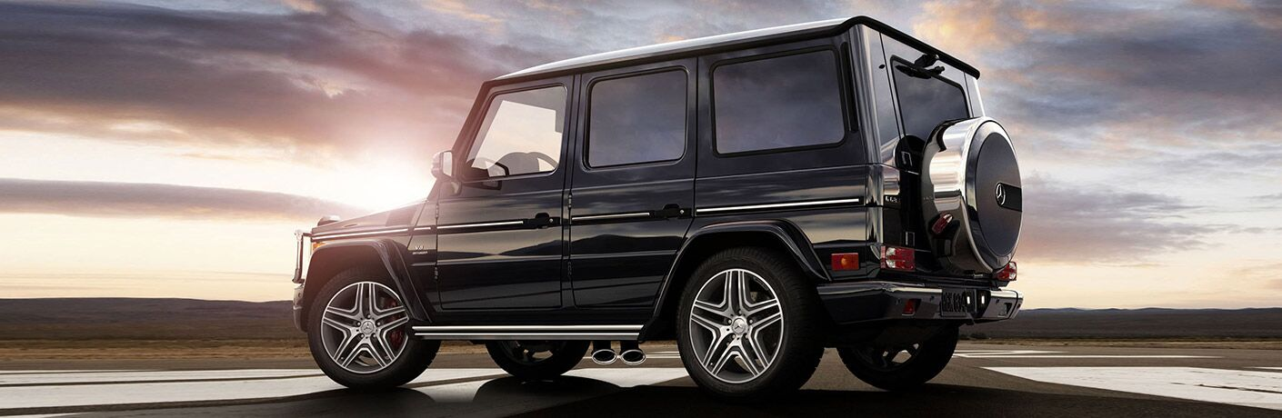 side view of mercedes-benz g-class at sunset