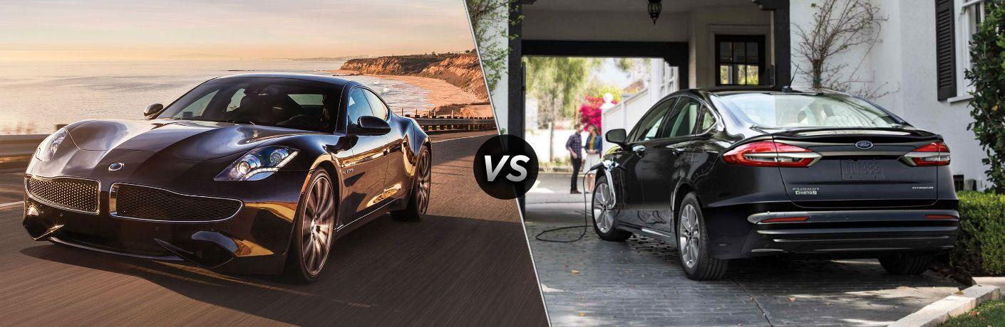 2018 Karma Revero Exterior Driver Side Front Angle vs 2019 Ford Fusion Exterior Driver Side Rear Angle