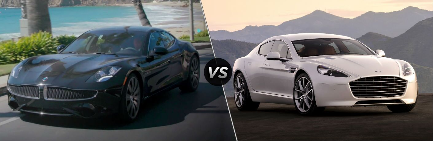 2018 Karma Revero Exterior Driver Side Front Angle vs 2018 Aston Martin Rapide S Exterior Passenger Side Front Angle