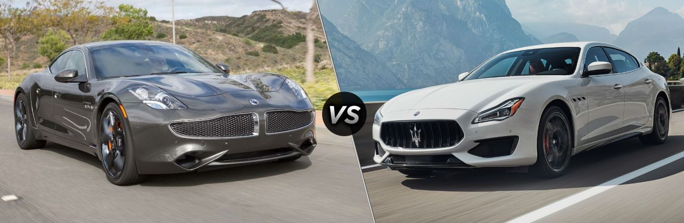 2018 Karma Revero Exterior Passenger Side Front Angle vs 2018 Maserati Quattroporte Exterior Driver Side Front Angle