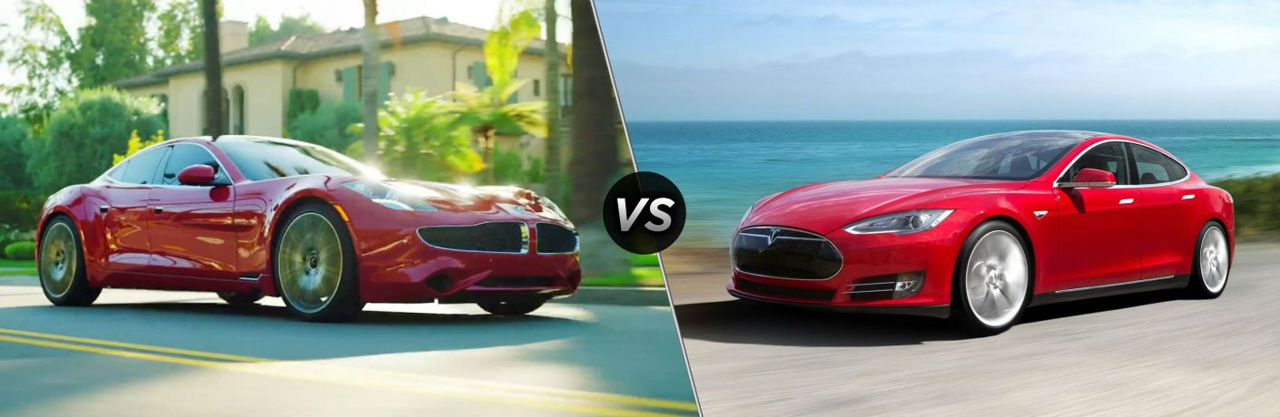 2018 Karma Revero Exterior Passenger Side Front vs 2018 Tesla Model S Exterior Driver Side Front