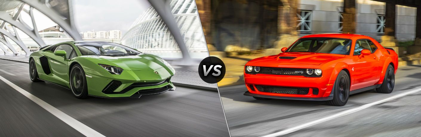 2018 Lamborghini Aventador Exterior Passenger Side Front Angle vs 2018 Dodge Challenger Hellcat Exterior Driver Side Front Angle