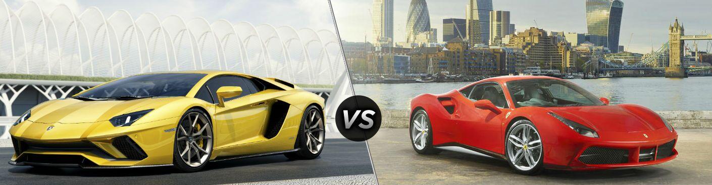 Yellow 2018 Lamborghini Aventador Exterior Driver Side Front vs 2018 Ferrari 488 Exterior Passenger Side Front