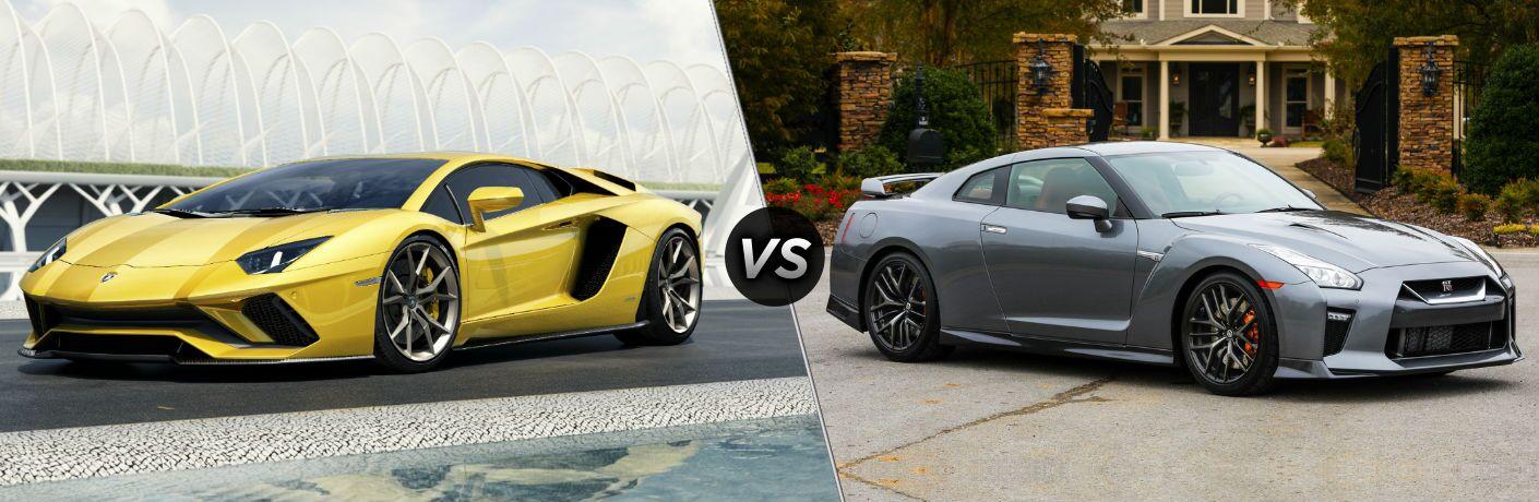 Yellow 2018 Lamborghini Aventador Exterior Driver Side Front vs 2018 Nissan GT-R Exterior Passenger Side Front