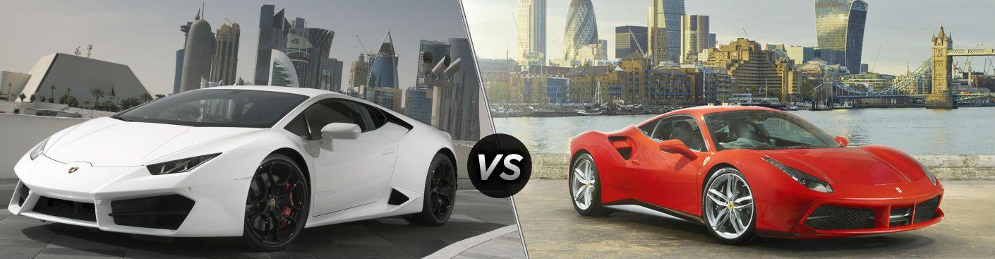White 2018 Lamborghini Huracan Exterior Driver Side Front vs 2018 Ferrari 488 Exterior Passenger Side Front
