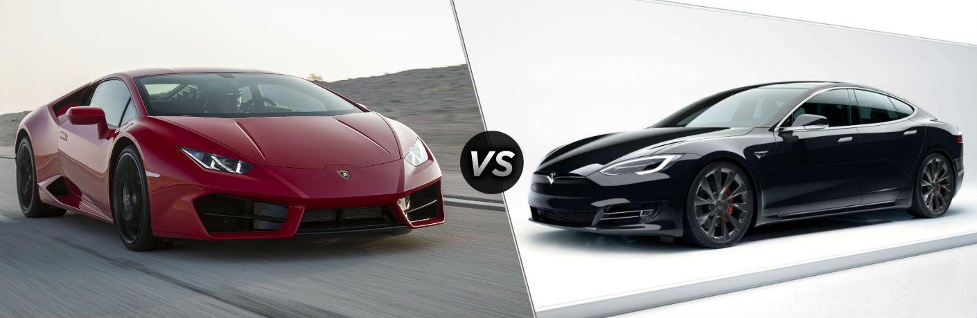 2018 Lamborghini Huracan Exterior Passenger Side Front Angle vs 2018 Tesla Model S Exterior Driver Side Front Profile